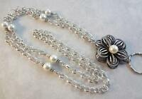 Silver Flower Lanyard, Pearl Beaded Chain Badge ID Holder - Breakaway Option