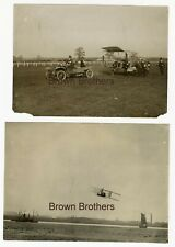 Vintage Early Pioneer Aviation Bi-Plane Photos, 1 pulled by Motor Car - (2pcs)