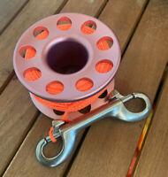 Scuba Diving 30m Aluminium Finger Spool Reel Pink with Double Snap Bolt