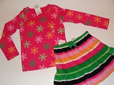 Gymboree Cheery All The Way Girls Size 5 Snowflake Top Stripe Skirt NEW NWT