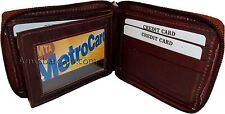 New Zip around man's Leather wallet 9 credit ATM card  flip side ID window bnwt