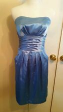 "David's Bridal strapless knee length bridesmaid Dress Blue size 4 ""83707"""