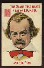 Political David Lloyd George satire National Health stamp licking 1912 PPC
