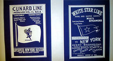 White Star Line & Cunard Lines Vintage Logo Emblem Blueprints 12x16 each (212)