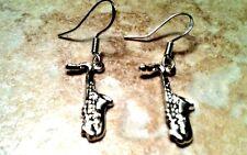 Hooks, music band instrument brass Saxophone Earrings, 925 Sterling Silver