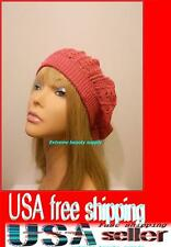 hot pink Women Lady girl thin Fashion Beret Beanie CROCHET French Artist CAP HAT