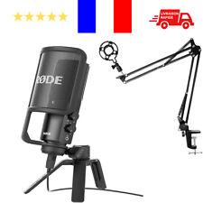 Microphone Rode NT-USB Noir Neuf + Bras Support de Suspension