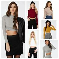 Girls Turtle Neck Crop Ladies Long Sleeve Plain Polo Short Stretch Top