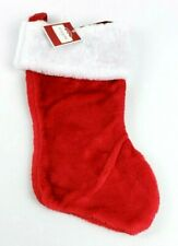 "New Holiday Time Red & White 16"" Christmas Stocking Faux Fur Trim"