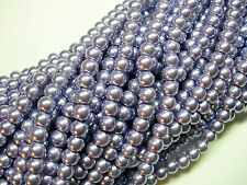 "Lilac Blue 6mm Glass Pearls beads WOW 30"" strand"