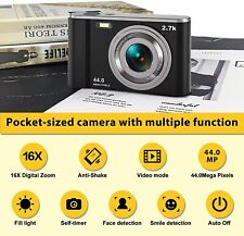 HD Digital Camera 2.7K 44 MP Kid Vlogging Camera Video Camcorder w/ IPS Screen