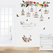 Bird Cage Colorful Bird Wall Decal Floral Sticker Home Decor Vinyl Removeable