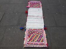 Old Hand Made Persian Oriental wool Red Pink Colourful kilim Runner 200x55cm