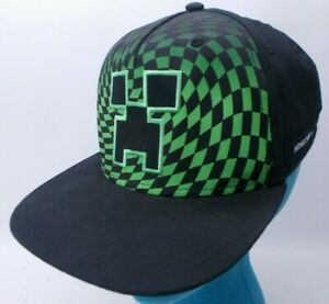 Minecraft Creeper Youth Hat Snapback Lime Green Checkered Adjustable