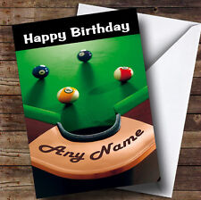 Pool Snooker Table Funny Personalised Birthday Greetings Card