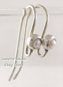 RETIRED Authentic PANDORA Silver PEARL Dangle EARRINGS POSTS Hooks 290671P NEW