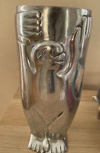 """CARROL BOYES South African Designer Signed Aluminium 10"""" SUMO Vase RRP £225"""