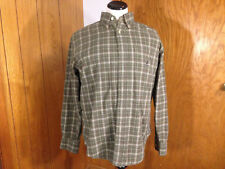 Nautica Mens Plaid Olive Green Long Sleeve Button Front Size M