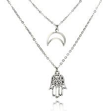 Crescent Moon & Hand of Fatima Multi Layer Choker Necklace - UK Stock