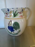 """Vintage Hand Painted Rooster Pitcher Crock Pottery White Blue Red 6 1/4"""" Tall"""