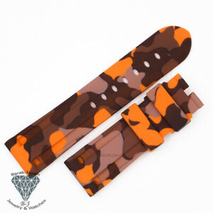 24mm Military Camo Orange Rubber Straps Band For Panerai PAM watches + Tools
