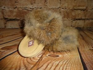 Native Childs Suede Leather Rabbit Fur Sherpa Moccasins Slippers Size 4 Toddler