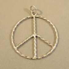 .925 Sterling Silver Light Thin TWISTED PEACE SIGN Pendant NEW Symbol 925 PW58
