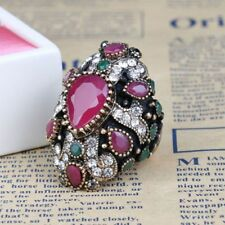 Large Accessories Fashion Cocktail Jewelry Bride Finger Ring For Women Crystal
