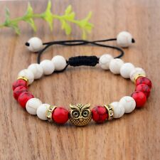 Charm Men Gold Owl White Stone Natural Red Agate Gem Gasket Macrame Bracelets