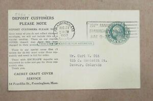 "POSTAL CARD 1950 ""CACHET CRAFT COVER SERVICE FRAMINGHAM, MASS ""w/SLOGAN"