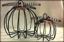"Set of Two Metal Frame Pumpkins with Metal Leaves & Stems  5.50"" & 8.50"" Wide"