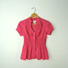 Ruffle blouse size S button down fitted smocked waist short sleeve top pink new