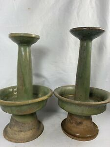 "Near pair 10"" Antique Chinese Rustic Green Glazed oil or candle sticks"