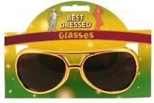 Novelty Gold Pop Rock Star Elvis Style Aviator Fancy Dress Accessory Sunglasses