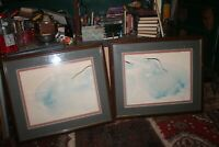 "Framed Carol Grigg 1980's Blue Herons 2 Part Painting Watercolor 30.5""x37"" each"