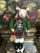 """Christmas Mouse Handmade Plaid Tartan Outfit Vinyl Boots Wrapped Packages 13""""NEW"""