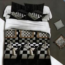 3D Bedsheet Modern Chessnale Theme Queen Fitted Sheet Cover w/Pillowcase