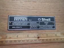 Ferrari Shell Lubricant Metal PLate Plaque F355 355 456 Testarossa Mondial F1