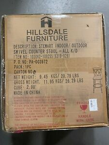 Hillsdale Stewart Indoor Outdoor Swivel Counter Height Stool Aged Pewter Rustic