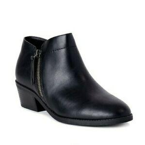 """Black Ankle Boots Side Zipper 1.5"""" Heel Memory Foam Footbed Women's 8"""