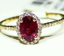 1.00CT 14K Gold Natural Ruby Cut Diamond Halo Vintage Engagement Ring Retro Deco