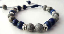 MIDNIGHT Lapis Lazuli and Jasper Bead Hand-knotted Macrame Slide Knot Bracelet