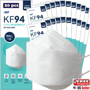 【 20 Pack 】INT KF94 White Korean Face Mask , 4 Layered, 3D Ergonomic Design Mask