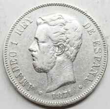 ESPAÑA AMADEO I 1871 *18-74 DEM 5 PESETAS MONEDA PLATA MBC