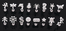 New Surgical Steel Novelty Logo Tongue Bar Studs Weed Fairy Dollar Spider Star