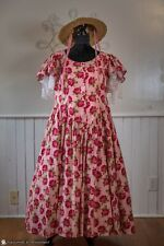 Victorian Dress Set, Prairie, Western, Pink Roses, by Recollections, Straw Hat