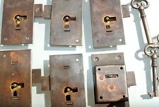 6 FLUSH lock cupboard solid brass keys heavy work door old  style 76mm locks B