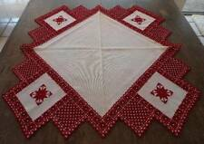 """Vintage Red Ecru Hardanger Needle Lace Embroidered Tablecloth Topper 35"""""""