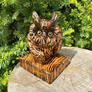 Norway Spruce Wood Chainsaw Carved Owl Folk Art Carving Sculpture OOAK