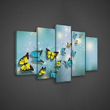SET (5 teilig) CANVAS Leinwandbild Poster Kunst Schmetterlingen Blau 3FX2708S17